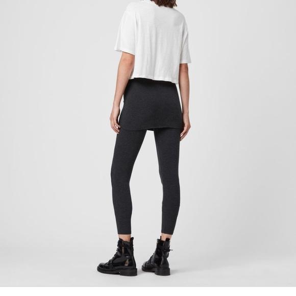 All Saints Pants - All Saints Raffi cropped black leggings skirt